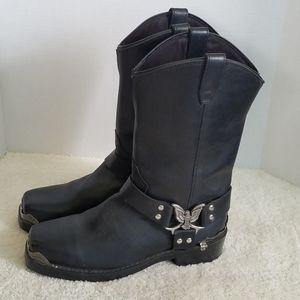Dingo Men's Black Leather Chopper Harness Boots